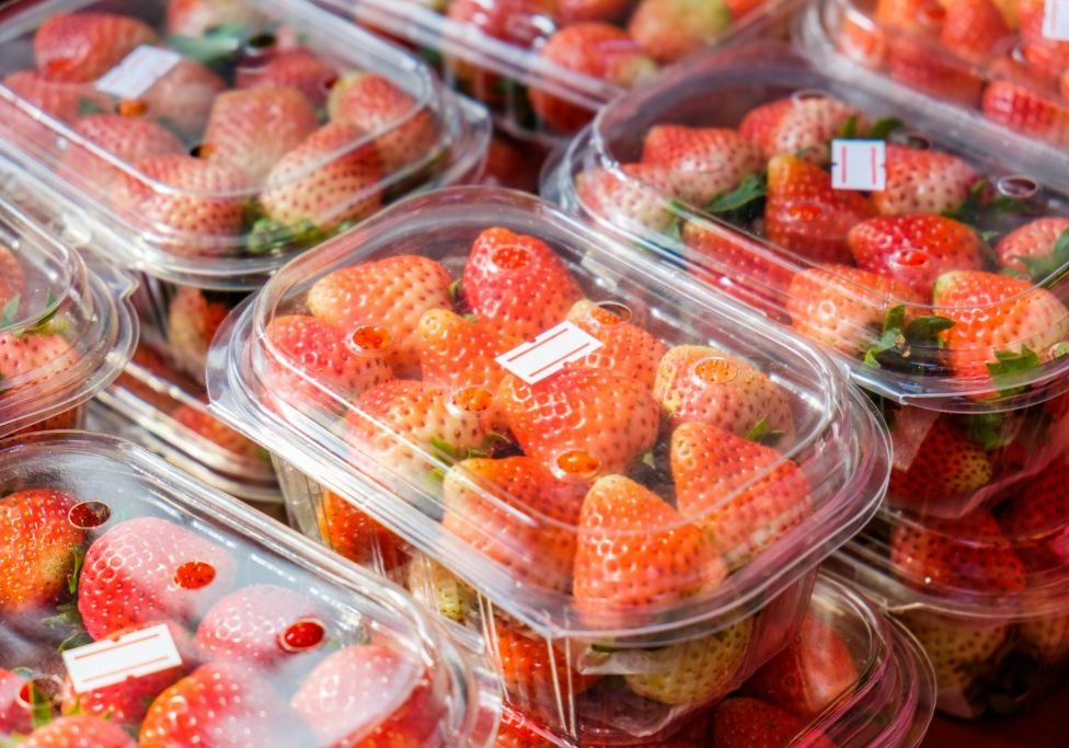 Strawberry ripe packed in plastic boxes